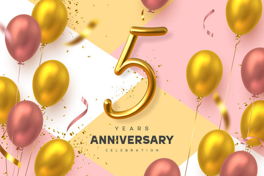 5 years anniversary celebration banner. 3d handwritten golden metallic number 5 and glossy balloons with confetti. Vector realistic template.