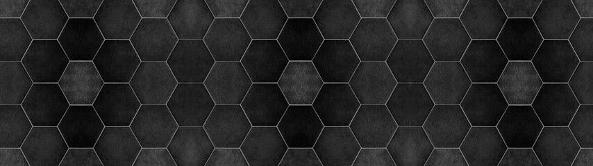 Black anhracite modern tile mirror made of hexagon tiles texture background banner panorama