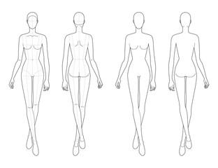 Fashion template of walking women.