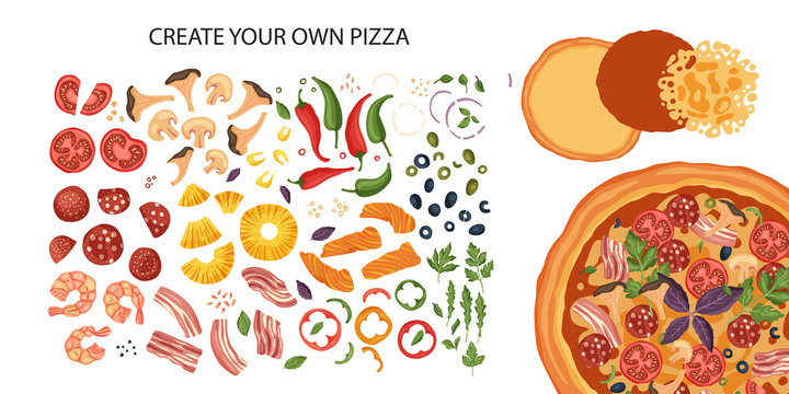 Italian cheese pizza creator vector illustration. Delicious tasty snack with mushroom and chili pepper. Create your own pizza. Flat design. Baked cake and ingredients - tomato, salami, basil and fish