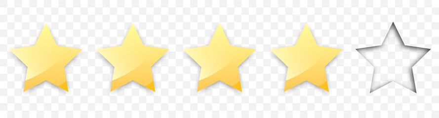 Four golden stars with shadow for review of product rating on a transparent background, for web sites and mobile applications. Vector illustration EPS10