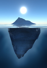 Emerged and submerged parts of an iceberg. Tip of the iceberg or climate change illustration.