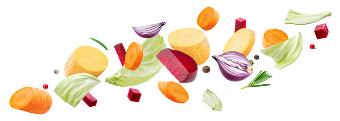 Poster de jardin Légumes frais Falling pieces of different vegetables isolated on white background