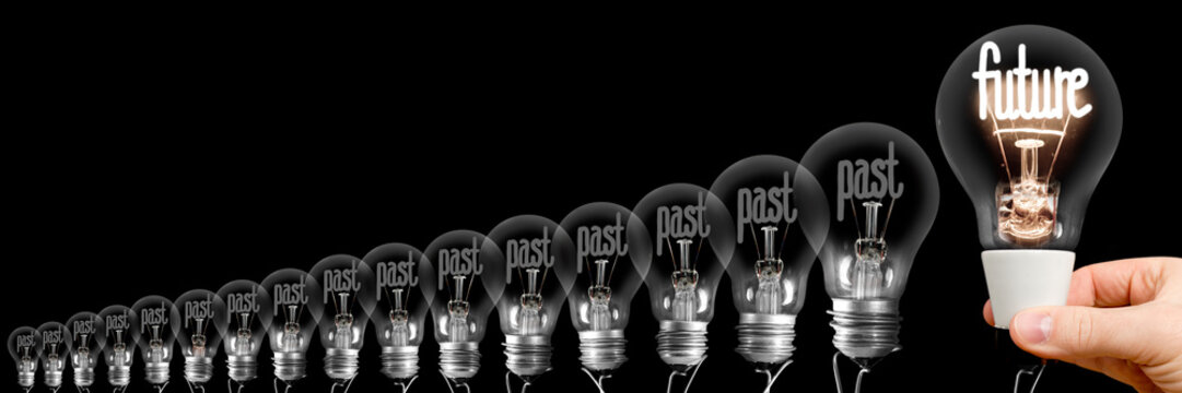 Light Bulbs with Past and Future Concept
