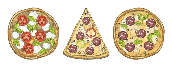 Set of pizza images. Whole pizza and slice of pizza.