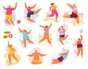 Plus size happy dancing people vector illustration set. Fat man woman, cartoon big size curvy smiling character flying, jumping, meditating creative dance pose. Active lifestyle, body positive concept