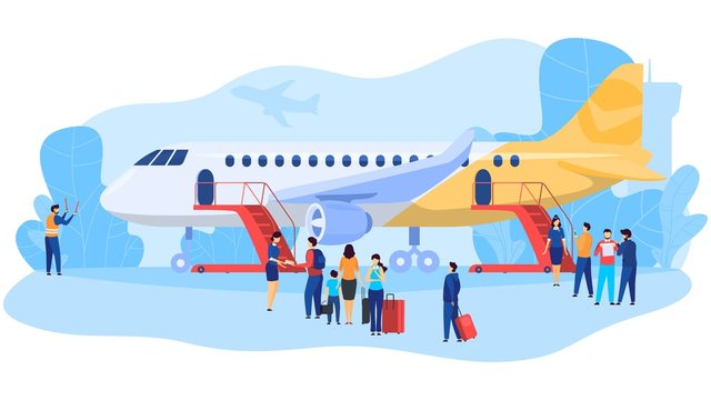 Passengers boarding airplane, people at airport, vector illustration. Flight crew and travelers cartoon characters, men and women with baggage boarding plane. Stewardess checking flight tickets
