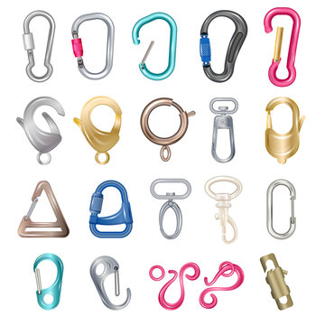 Carabiner clasps isolated vector illustrations. Metal colored carabiner with open closed hook, technical clips and claws for bag or carbine snap for climbing hiking clasped rope equipment icons set