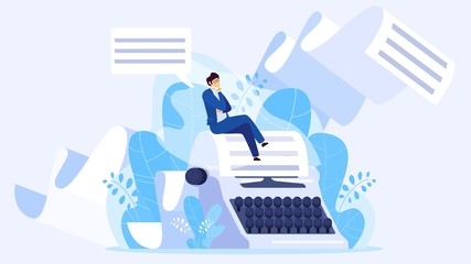 Author writing a book, tiny man sitting on huge typewriter, vector illustration. Creative screenwriter, poet, blogger or journalist working on article. Text editor, author cartoon character concept