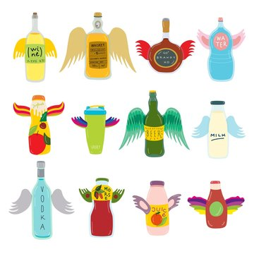 Flying bottle with wings for beverage on vector drinking hand drawn illustration isolated on white. Alcoholic, non-alcoholic drinks. Volant wine, whiskey, brandy and vodka. Yummy morse, milk, juice