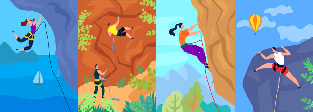 Climbing vector illustration, climber climbs up the mountain. Extreme adventure active outdoor sport. Posters set strong brave male female cartoon people characters on rock with rope. Mountaineering