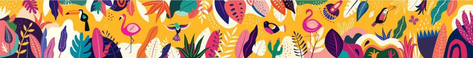 Fototapete - Animals big collection. Animals of Brazil. Vector colorful set of illustrations with tropical flowers, leaves, monkey, flamingo, and birds. Brazil tropical pattern. Rio de janeiro pattern