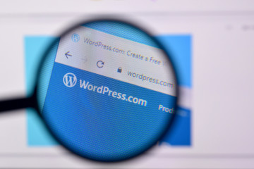 Homepage of wordpress website on the display of PC, url - wordpress.com.