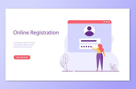 People register online. Registration or sign up user interface. Users use secure login and password. Concept of online registration, sign up, user interface. Vector illustration for UI, mobile app