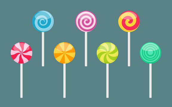 Set of lollipop sweet colorful candies with spiral and ray patterns. Vector illustration isolated