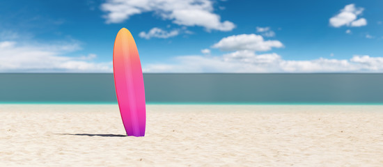 surfboard on the beach, copy space for individual text