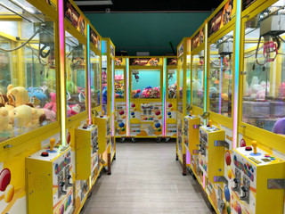 Soft toys, animals in claw vending machine, Hong Kong , November, 2019