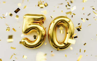 50 years old. Gold balloons number 50th anniversary, happy birthday congratulations. Fotomurales