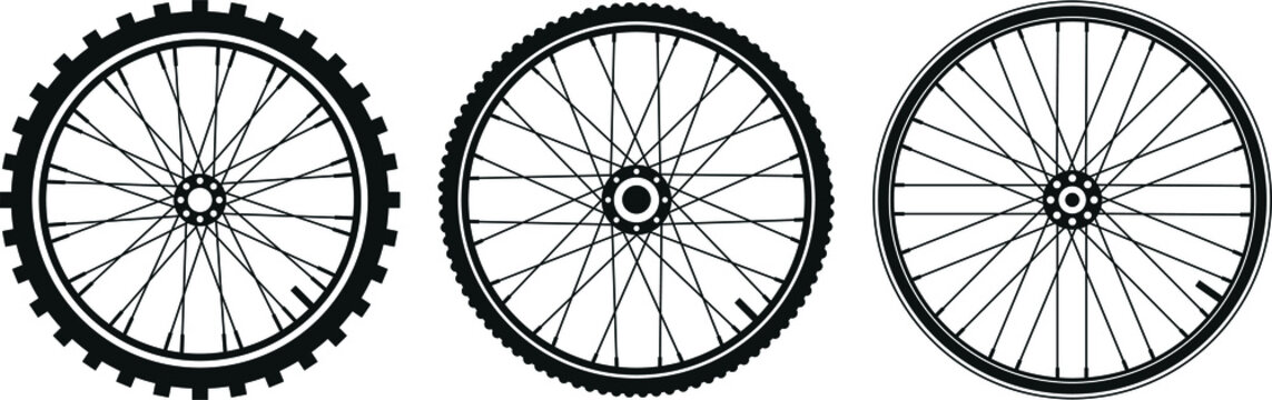 tre tipi di ruota di bicicletta in vettoriale