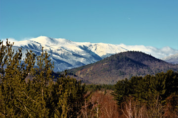 Distant view of the Mount Washington summit and observatory