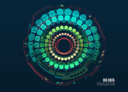 Big data visualization. Abstract background with circles array and hi-tech elements. Connection structure. Data array visual concept. Big data connection complex.