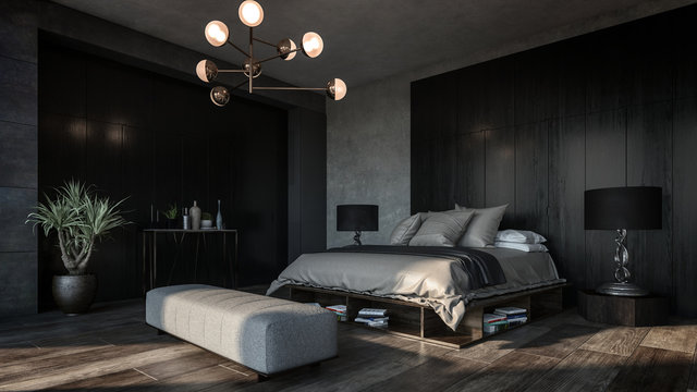 Design of luxury bedroom with dark interior