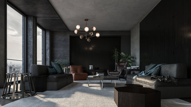 Spacious long living room with dark design