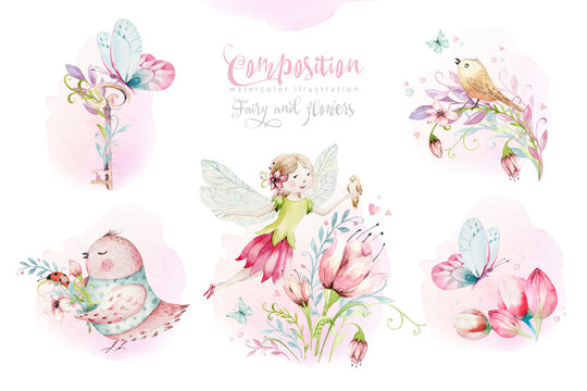Cute Fairy character watercolor illustration on white background. Magic fantasy cartoon pink fairytale design. Baby girl birthday