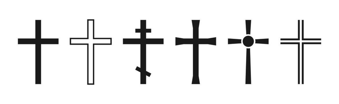 Cross symbol. Christian cross icon collection. Vector
