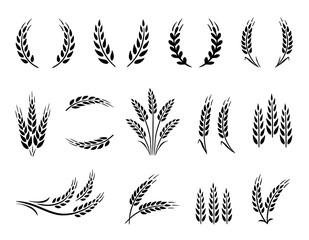 Fototapeta Wheat wreaths and grain spikes set icons