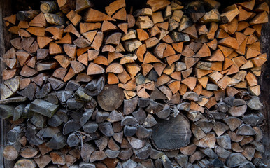 Papiers peints Texture de bois de chauffage use the stove. Old firewood is stacked. heating