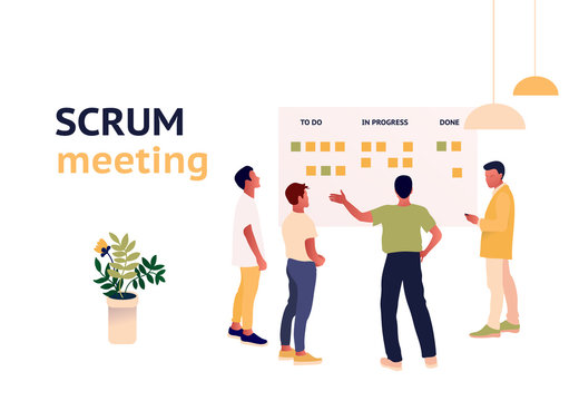 Stand-up meeting vector illustration. Agile and scrum methodology. Scrum master with developer team. Kanban whiteboard with stickers. Trendy flat style illustration.