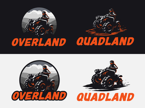 Set of ATV vehicle logo and emblems isolated on white and black background. All-terrain off-road 4x4 quad illustration.