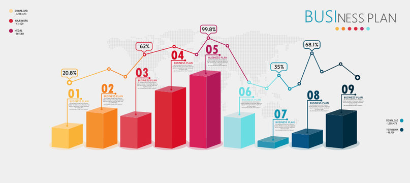 Infographic 3D elements or diagrams of education businesses can be used in teaching