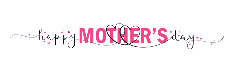Wall Mural - HAPPY MOTHER'S DAY vector mixed typography banner with brush calligraphy and pink hearts