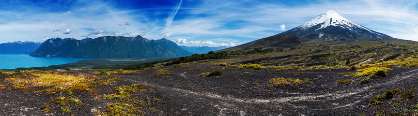 Panorama of the Patagonian mountains with snow capped volcano of Osorno. Chile