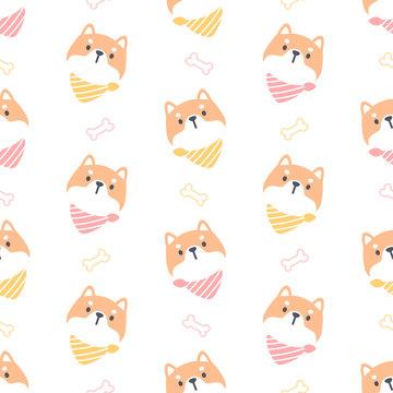 Shiba inu dog with collar seamless pattern background