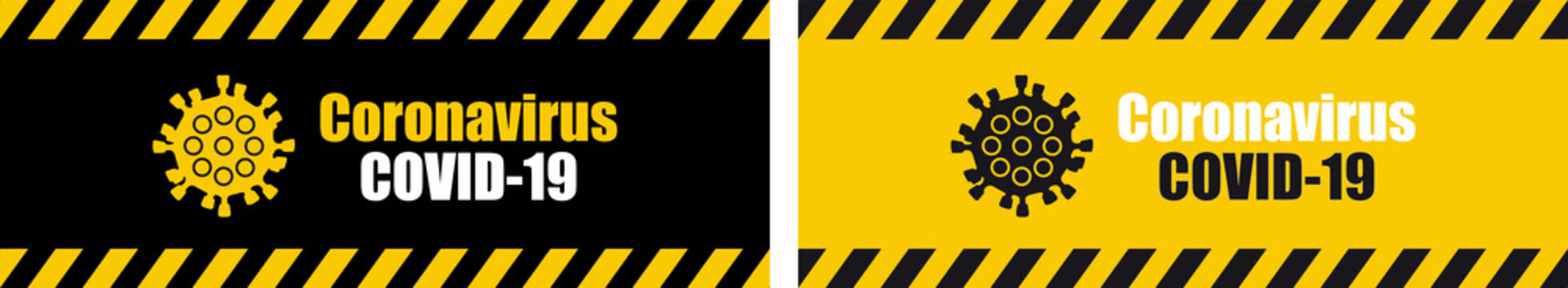 Warning coronavirus sign on banner