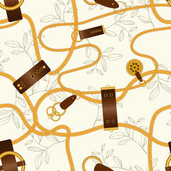 Сhain seamless vector pattern on light pastel yellow background with fashion floral design.