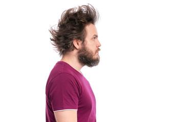 Crazy bearded Man with funny Curly Hair - side view, isolated on white background. Looking away - profile. Emotions and signs concept.