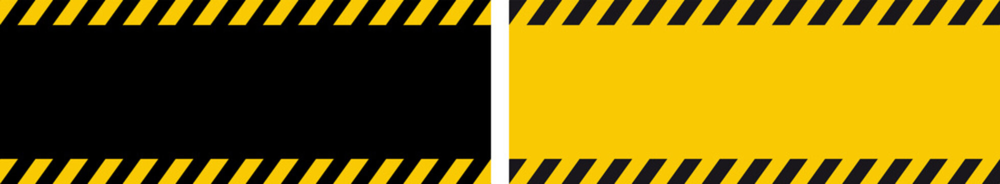 Danger warning banner with black and yellow strips