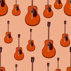 Guitar seamless pattern. Stringed musical instrument. Vector illustration.