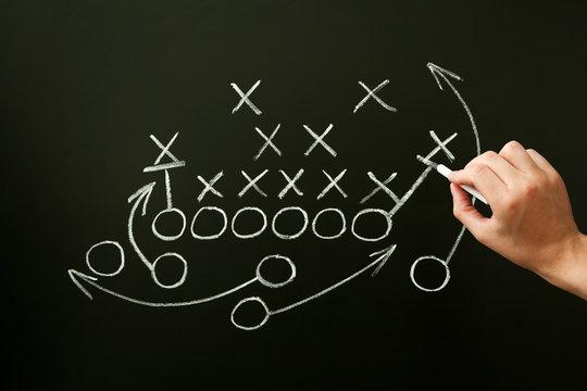 Coach Drawing American Football Playbook Tactics