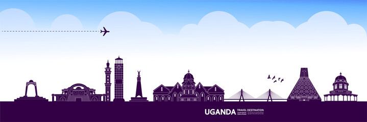 Fototapete - Uganda travel destination grand vector illustration.