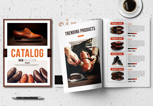 Product Catalog Layout with Orange and Brown Accents