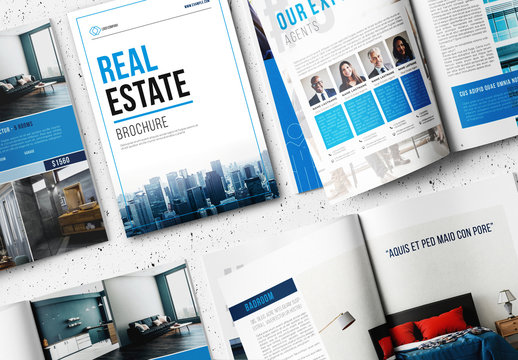 Real Estate Brochure Layout with Blue Accents