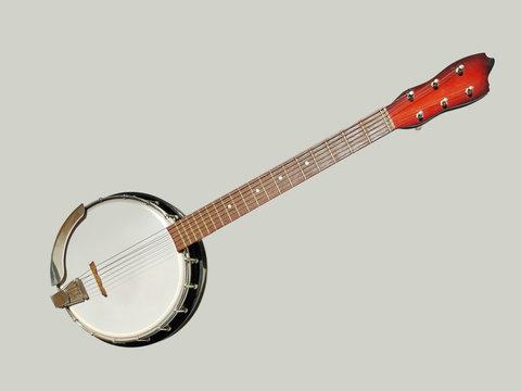 6 string banjo on a gray background