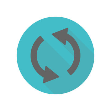 Arrow, refresh long shadow icon. Simple glyph, flat vector of arrow icons for ui and ux, website or mobile application