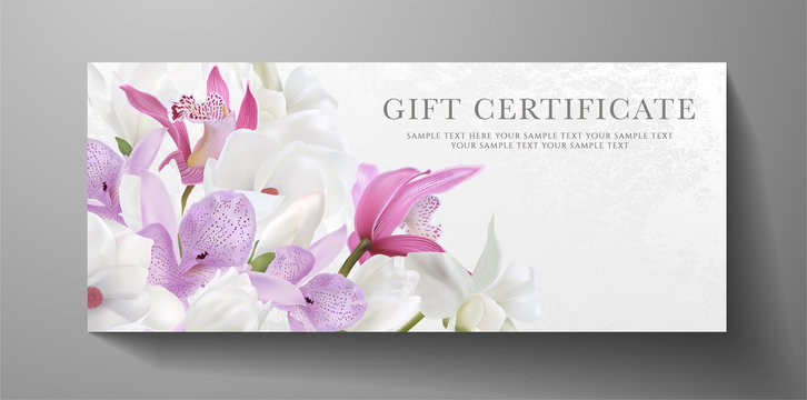 Gift certificate, voucher design for VIP invite. White background with orchid, magnolia flowers bouquet. Vector template useful for wedding card, anniversary invitation, 8 March greeting