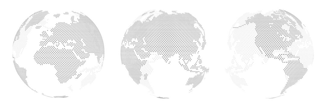 A set of three options for different locations of the globe, built from points. Isolated. Planet earth, abstract round map.